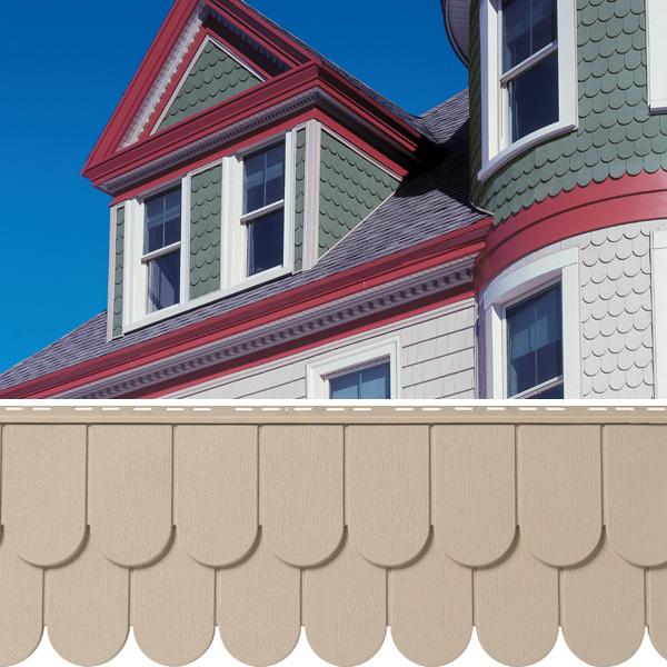 Mastic siding cedar shake authenticity for Half round buildings