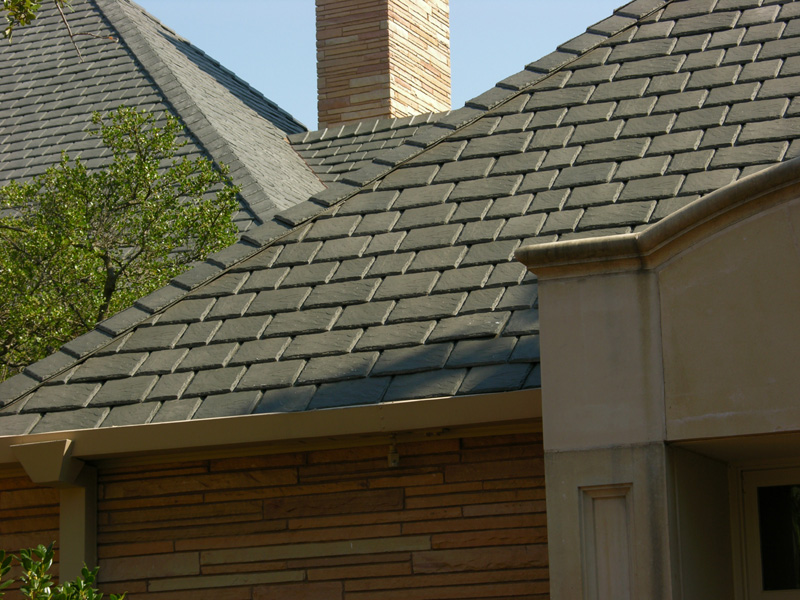 Polymer composite synthetic slate and shake shingles from Davinci roofing products