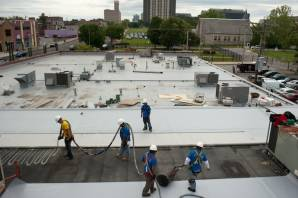 St. Louis commercial flat roof repair in progress