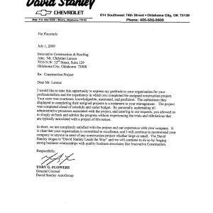 roofing reference letter | St. Louis, MO